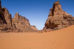 Sahara's krajobraz Tassili N'Ajjer, Południowy Algieria zdjęcie stock