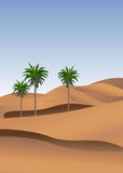 Sahara. Background illustration of the desert with palm trees Stock Images