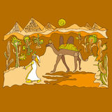 Sahara with camels and dunes. Illustration Stock Photography