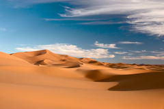 Sahara Desert. Dunes and sky in Sahara Stock Images