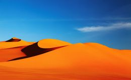 Sahara Desert. Sand dune in Sahara Desert at sunset Stock Photography