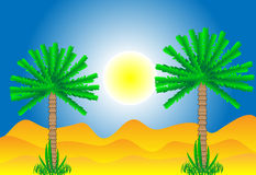 Sahara desert. With palms by day Stock Photos