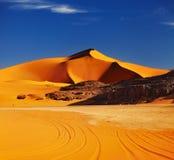 Sahara Desert. Sand dune in Sahara Desert at sunset, Tadrart, Algeria Stock Photos