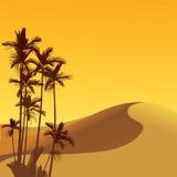 Sahara desert. Sand dune, palm and sunset illustration Stock Photo
