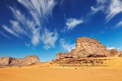 Sahara Desert, Algeria. Desert landscape with rocks and blue sky, Tadrart, Algeria Royalty Free Stock Image