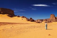Sahara Desert, Algeria. Tuareg in desert, Sahara Desert, Algeria Stock Image