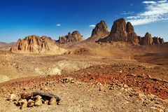 Sahara Desert, Algeria. Rocks in Sahara Desert, Hogar mountains, Algeria Royalty Free Stock Photo
