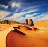 Sahara Desert, Algeria. Sand dunes and rocks, Sahara Desert, Algeria Royalty Free Stock Photos