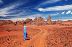 Sahara Desert, Algeria. Tuareg in desert, Sahara Desert, Algeria Stock Photos