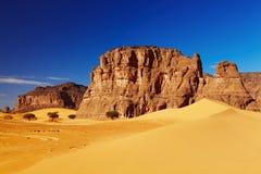 Sahara Desert, Algeria. Sand dunes and rocks, Sahara Desert, Algeria Stock Images