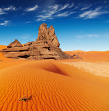 Sahara Desert, Algeria. Sand dunes and rocks, Sahara Desert, Algeria Royalty Free Stock Photos