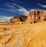 Sahara Desert, Algeria. Sand dunes and rocks, Sahara Desert, Algeria Royalty Free Stock Images