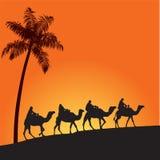 Sahara desert and camels. Sand dune and camel illustration. Arabian lifestyle Royalty Free Stock Photos