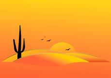 Sahara desert, cdr vector. Simple poster with cactus and dunes at sunset, vector format Stock Image