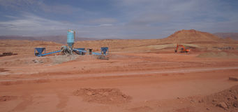 Sahara desert construction site with bulldoze Royalty Free Stock Photo