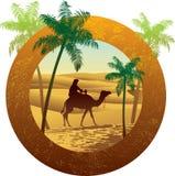Sahara desert label style. Sand dune, palm and camel illustration. Arabian lifestyle Royalty Free Stock Image