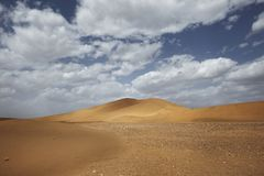 Sahara desert landscape with blue sky. Dunes background. Sahara desert landscape with blue sky. Dunes in the background royalty free stock photo