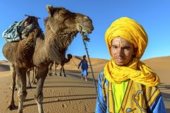 SAHARA DESERT, MOROCCO, APRIL 13, 2016. Tuareg man portrait with. Camel caravan on the Sahara Desert in Morocco on April 13, 2016. Traditional lifestyle royalty free stock image