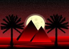 Sahara desert at night. Sahara desert with egyptian pyramids at night Royalty Free Stock Image