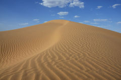 Sahara desert sand dune with cloudy blue sky. Royalty Free Stock Photos