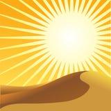 Sahara desert and sun. Sand dune and sunset illustration Royalty Free Stock Image