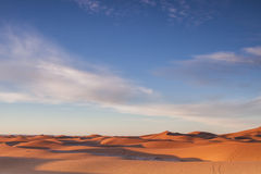 Sahara desert at sunrise stock image