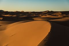 Sahara Desert Sunset. View sky and Steps stock images