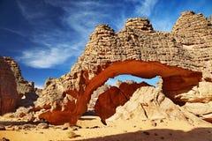 Sahara Desert, Tassili N'Ajjer, Algeria. Bizarre sandstone cliffs in Sahara Desert, Tassili N'Ajjer, Algeria Stock Photography