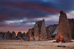 Sahara Desert, Tassili N'Ajjer, Algeria. Sunset in Sahara Desert, Tassili N'Ajjer, Tin Tazarift area, Algeria Stock Image