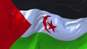 Sahara Flag Waving occidental en fondo inconsútil continuo del lazo del viento stock de ilustración