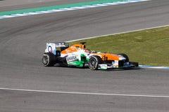 Sahara Force India F1 lag - Jules Bianchi - 2013 Arkivbild