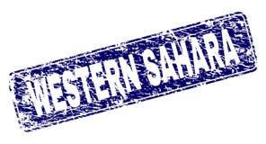 SAHARA Framed Rounded Rectangle Stamp OCCIDENTAL rasguñada ilustración del vector