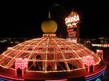 The Sahara Hotel and Casino lite with neon lights and sign. LAS VEGAS - FEBRUARY 4: The Sahara Hotel and Casino lite with neon lights and sign on February 4 Stock Photography