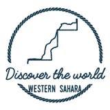 Sahara Map Outline occidentale Le vintage découvrent Photo stock