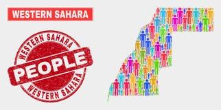 Sahara Map Population Demographics ocidental e selo corroído ilustração royalty free