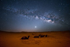 Sahara Milky Way. Milky way moving in the night sky over the Sahara Desert Morocco