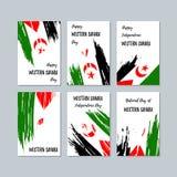 Sahara Patriotic Cards occidental para el día nacional ilustración del vector