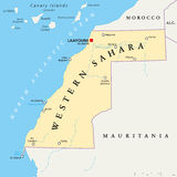 Sahara Political Map occidentale Images libres de droits
