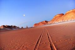 Sahara, the road in the desert Royalty Free Stock Photos