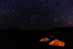Sahara Starry Night Royaltyfri Foto