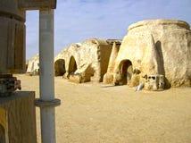 Sahara Tunisien - Januari 03, 2008: Övergav uppsättningar för skyttet av filmstjärnakrigen Royaltyfria Bilder