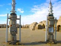 Sahara Tunisien - Januari 03, 2008: Övergav uppsättningar för skyttet av filmstjärnakrigen Arkivfoton
