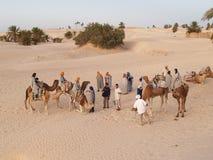 Sahara-Wüstentourismuswohnwagen Lizenzfreies Stockbild