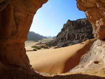 Saharan cave. Prehistoric paintings and engravings are found in Saharan caves. Tassili, Algeria Stock Images