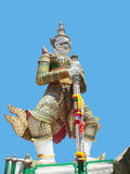Sahas. The white giant , stands and holds a baton to guard against all evils in Wat Arun , Bangkok , Thailand Royalty Free Stock Photos