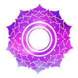 Sahasrara chakra with outer space. Vector illustration of Sahasrara chakra with outer space and nebula inside Stock Photo