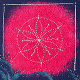 Sahasrara crown chakra. Seed of life hand drawn on a piece of wood Royalty Free Stock Photos