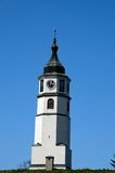 Sahat clock tower pagoda on hill park in Fortress area Belgrade Serbia Royalty Free Stock Photo