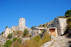 Sahat Kula, Pocitelj, Bosnia-Herzegovina. Sahat Kula is a fort in the ancient Turkish town of Pocitelj. The fort is standing on a hill looking down the Neretva Royalty Free Stock Photos