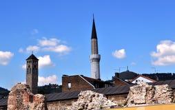 SahatkulaKlokketoren en Minaret Royalty-vrije Stock Afbeelding